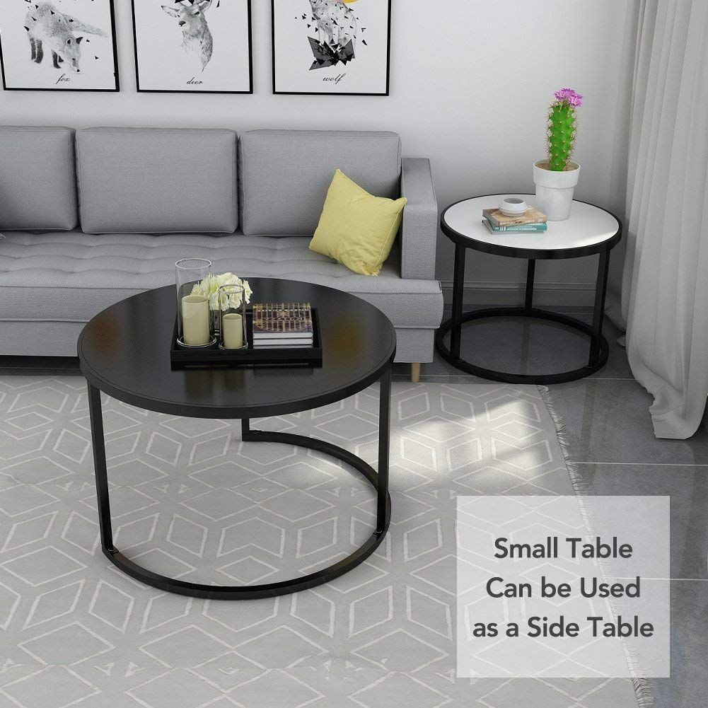 End Table With Sturdy Round Metal Base For Living Room White And Black Black Living Room Living Room End Tables Coffee Table