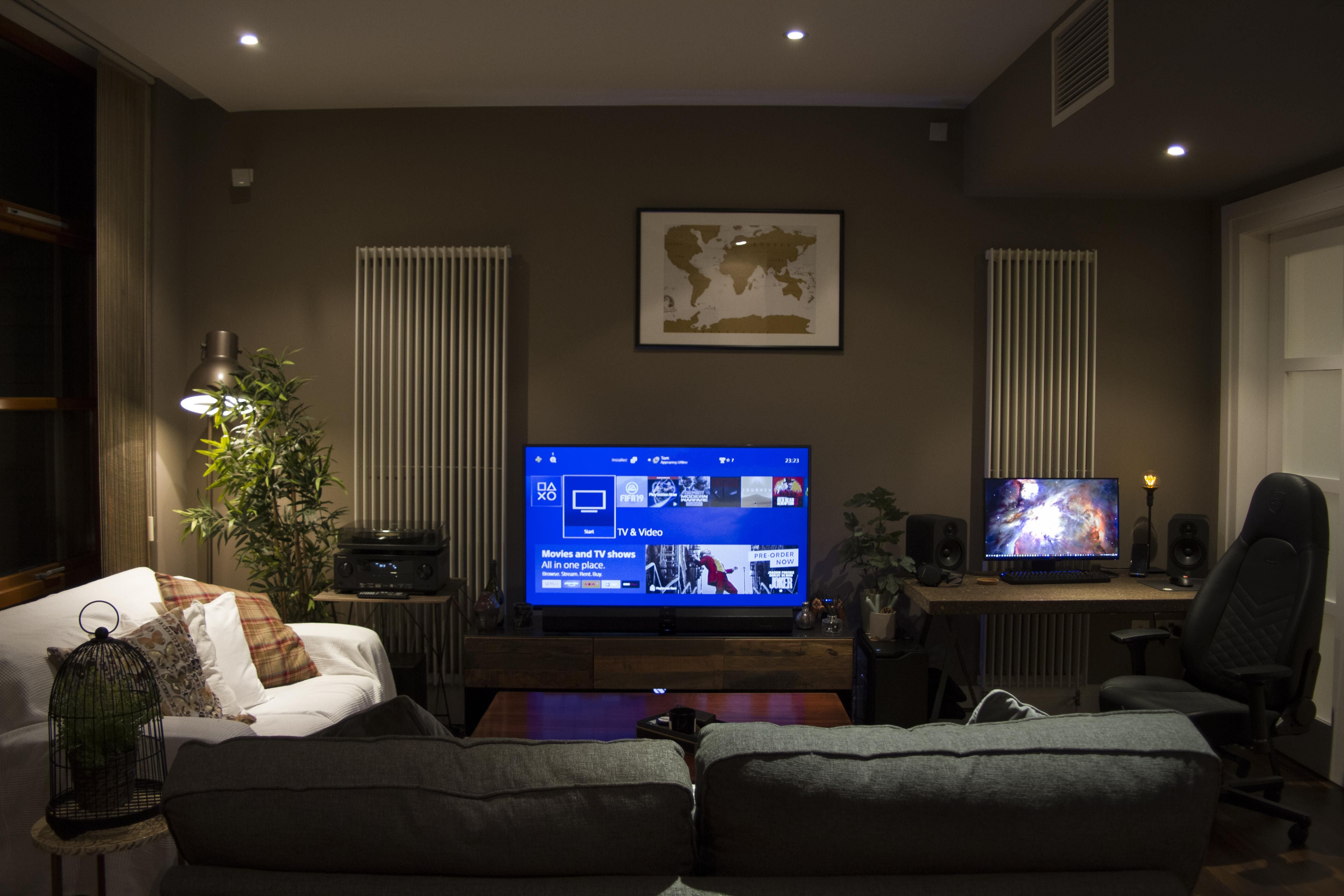 Thanks For The Inspiration Would Love To Hear Your Ideas Pc Computers Gaming Living Room Redo Cozy Basement House Styles Pc living room decor set by home