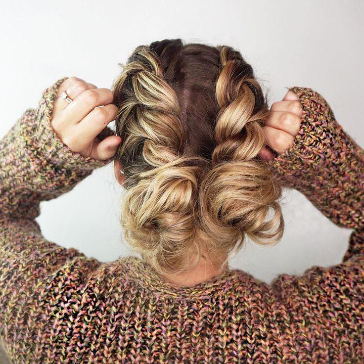 Two Dutch braids, two messy buns. Fun, playful hairdo ...