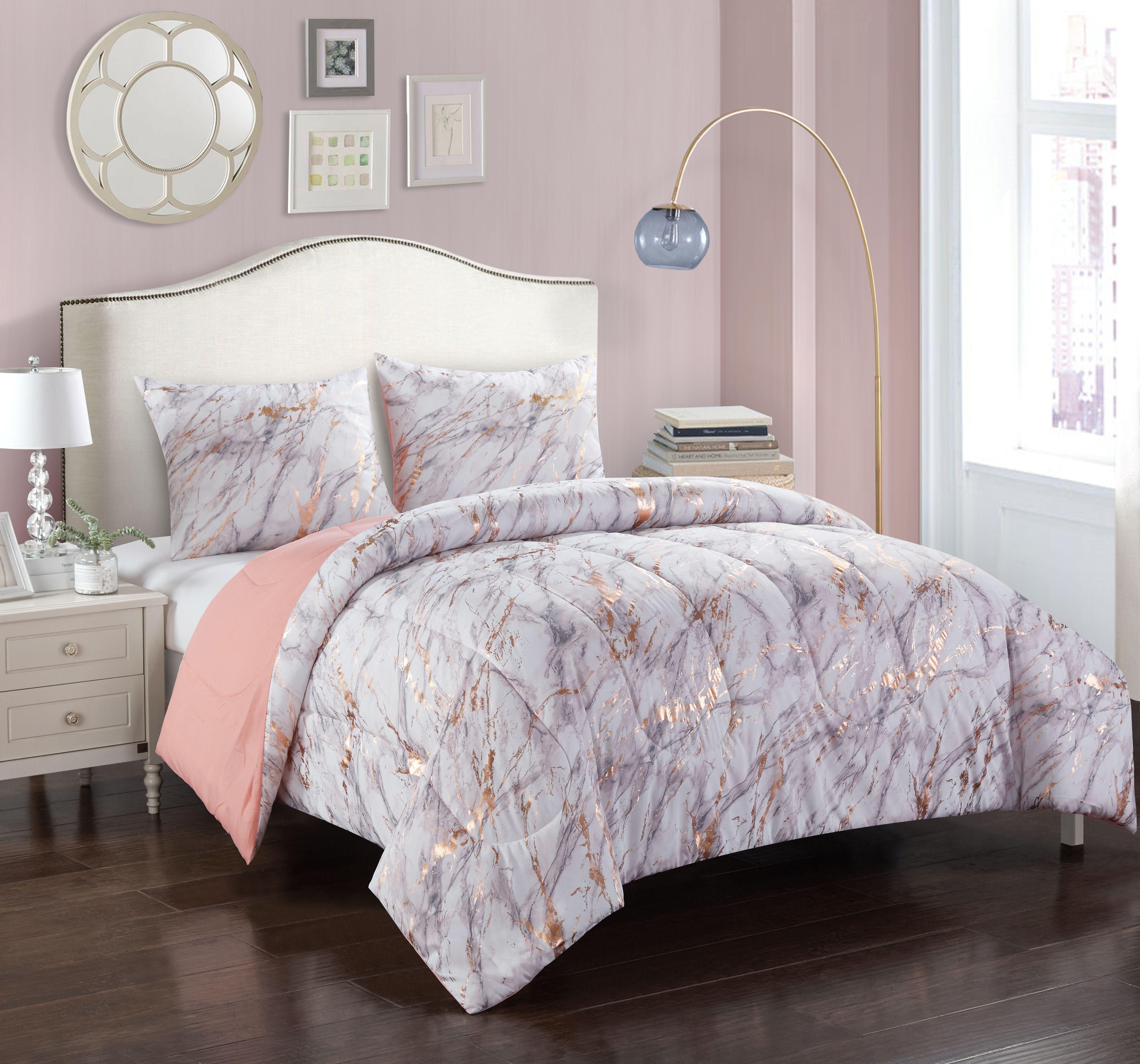 Your Zone Metallic Marble Comforter Set Walmart Com In 2020 Rose Gold Bedroom Decor Rose Gold Bedroom Gold Bedroom Decor