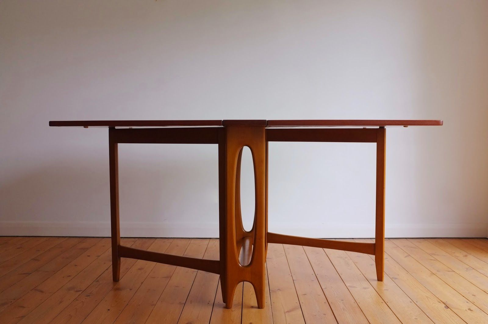 Drop Leaf Dining Table Designed By Bendt Winge For Kleppes Mobelfabrikk,  Norway Teak Table Top, Beech Legs, Brass Hinges