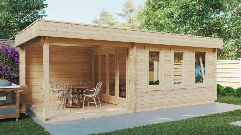 Contemporary Garden Summer House with Veranda Jacob E 12m² / 44mm / 7 x 3 m – Summer House 24