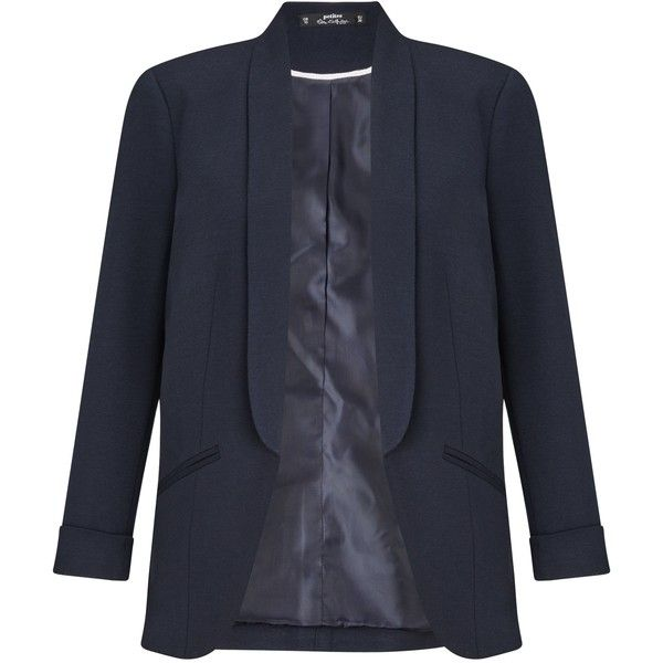 Miss Selfridge Navy Ponte Blazer ($46) ❤ liked on Polyvore featuring outerwear, jackets, blazers, navy, women, navy blue blazer, blazers jersey, ponte jacket, petite blazer and miss selfridge