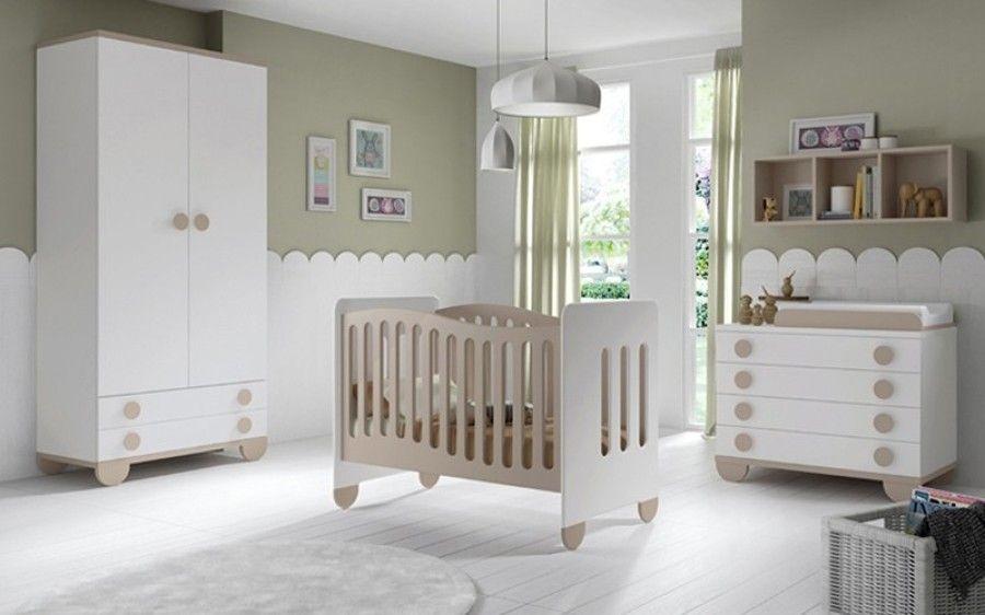 Dormitorio de beb en blanco y beige decoraci n infantil - Habitaciones infantiles en blanco ...