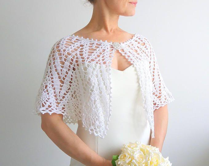 Blanca capa, crochet envoltura, boda cabo, poncho lacy, estola novia ...