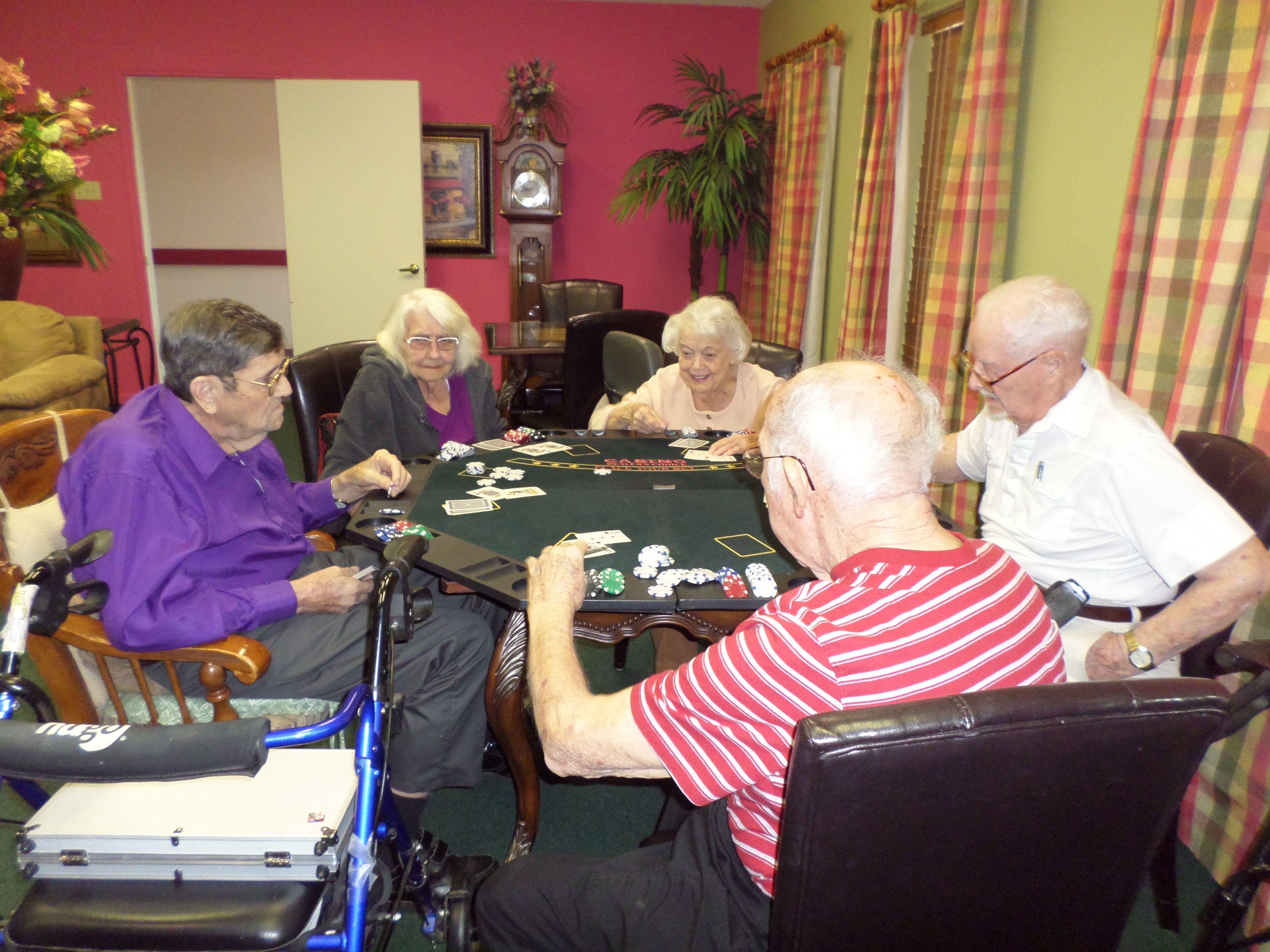 Poker with friends Tom Trimble, Dorothy Green, Violet Ingram, Victor Hetzel and Andy Kohn!