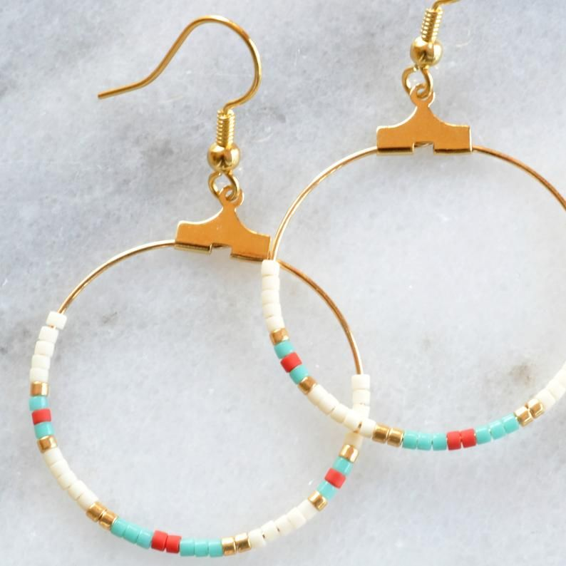 Photo of Beaded Hoop Earrings, Tribal Earrings, Boho Earrings, Native Beaded Earrings, Mini Hoop Earrings, Gold Hoops, Beaded Hoops, Gifts Under 25