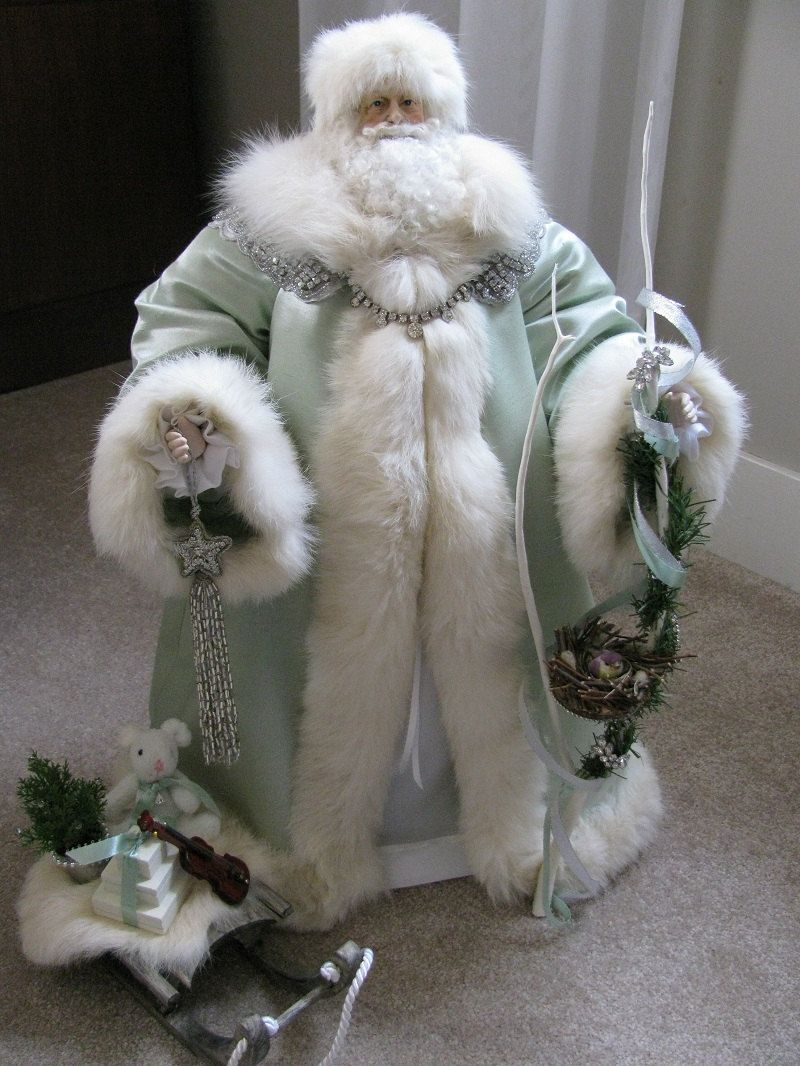 Father Christmas Doll: Green and Silver with Rhinestones and Vintage White Fox Fur ( One of a Kind Handmade Old World Santa Claus ). $331.00, via Etsy.