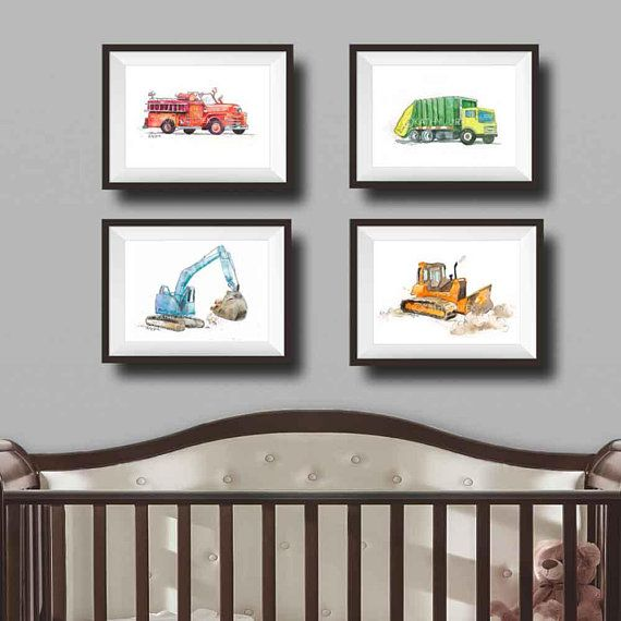 Construction Truck Nursery Art Baby Boy Nursery Decor Fire Truck ...