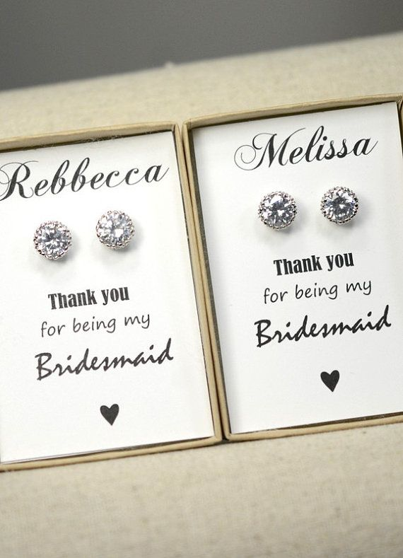 Bridesmaids Earrings Personalized Gift Crystal Stud Gifts Spring Wedding Be My Bridesmaid Card Rose Gold