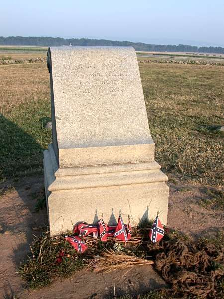 Site of the mortal wounding of General Armistead on July 3, 1863. Codori farm and monument to the 72nd PA in the distance