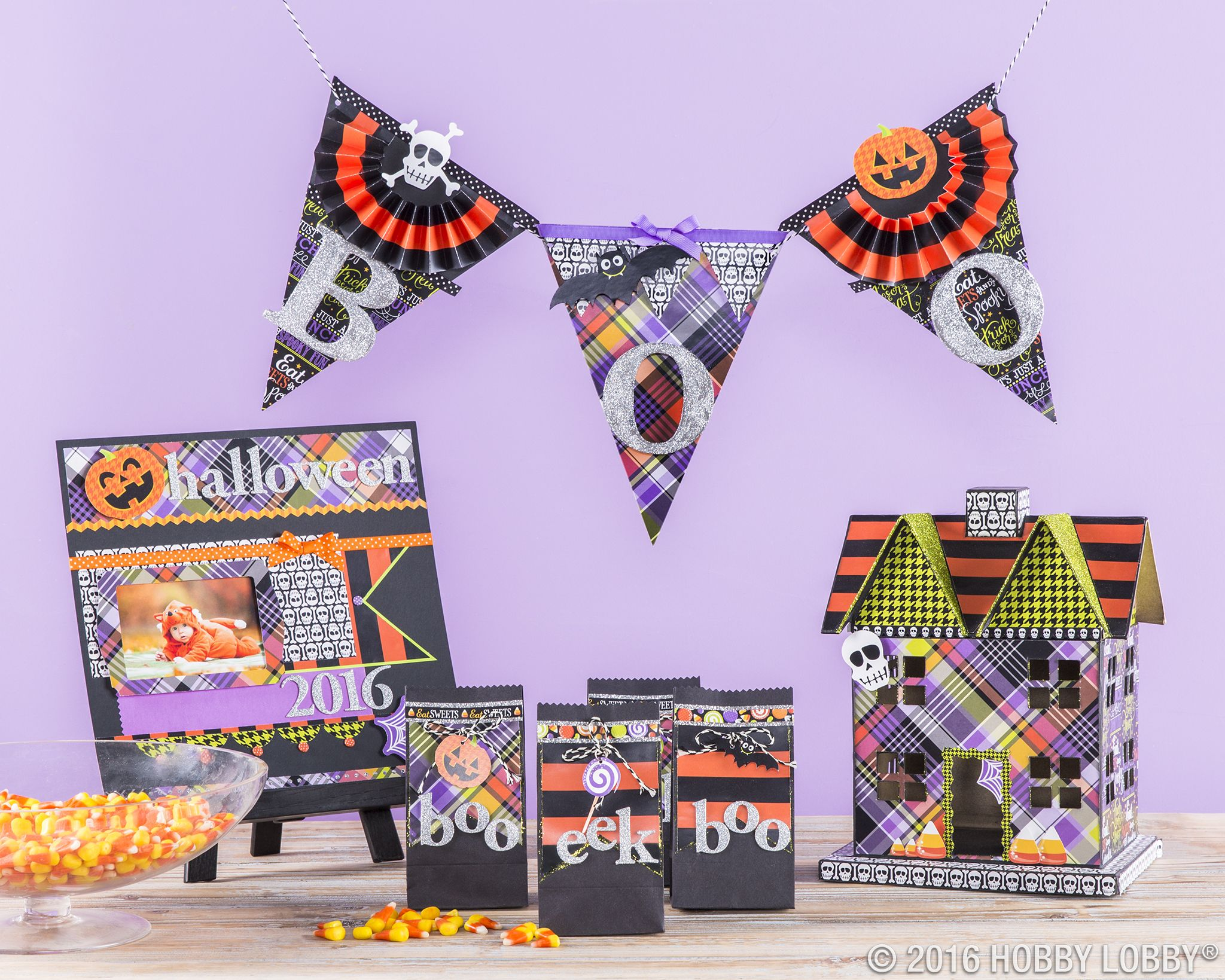 This paper kit is a monster mash-up of quirky colors and patterns - Hobby Lobby Halloween Decorations