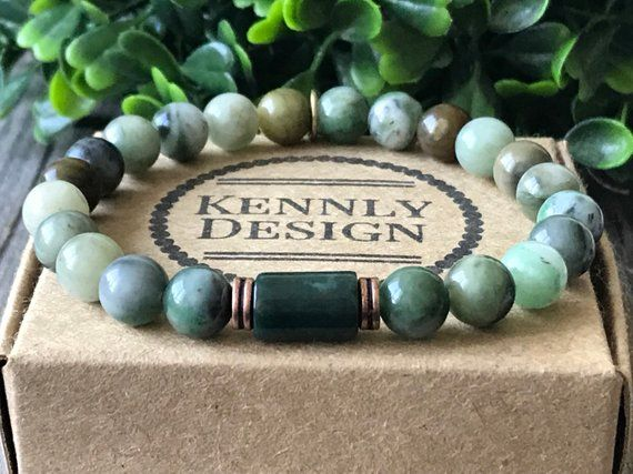 Men gemstone bracelet, Surf green bracelet, rock beaded