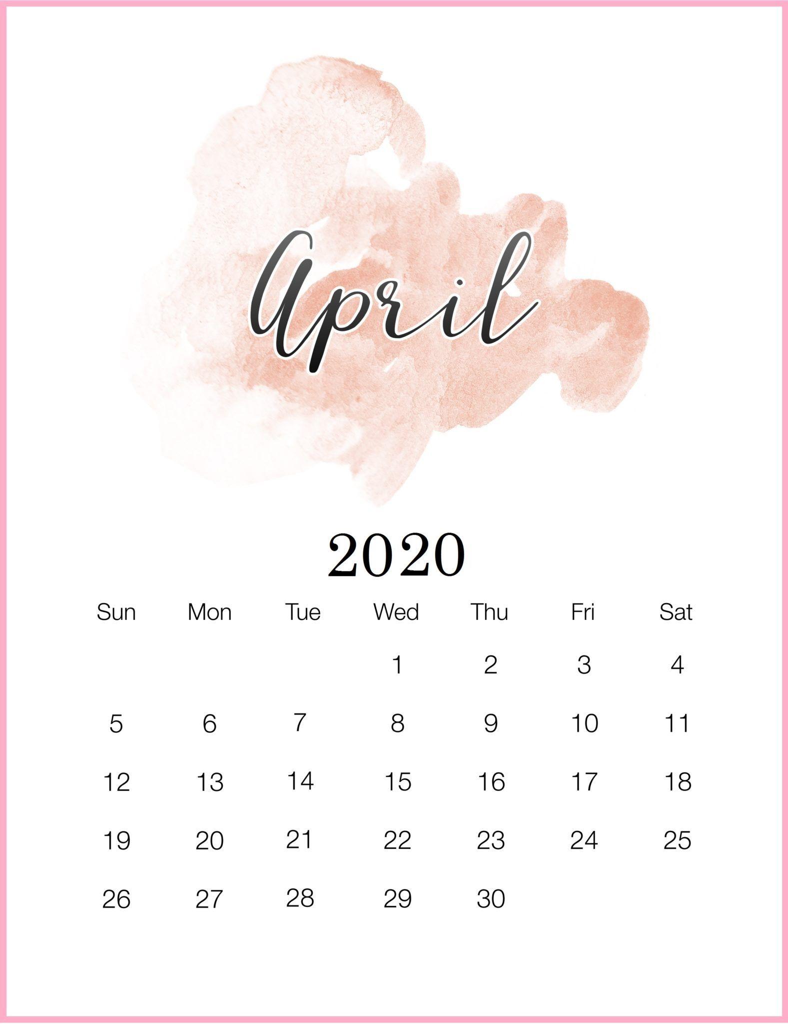 Watercolor April 2020 Wall Calendar Watercolor Calendar Calendar Wallpaper Calendar Printables