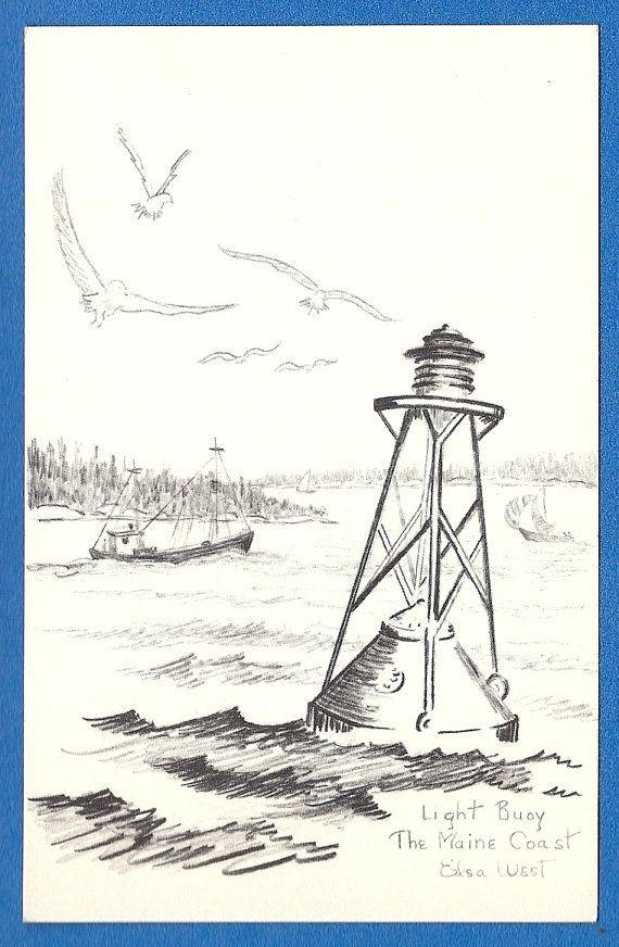 Light Buoy Maine Coast by Elsa West Vintage unused by