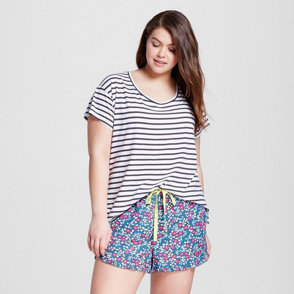 1ad3bd624 Women s Plus Size Pajama Set - Xhilaration - Black Stripe Blue Floral