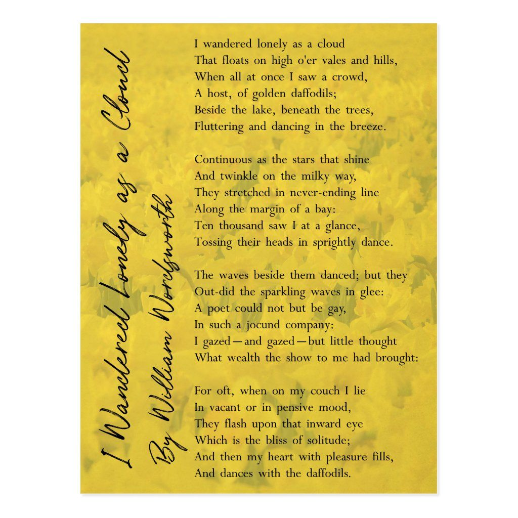 I Wandered Lonely A Cloud Wordsworth Poem Postcard Zazzle Com In 2021 About Life Daffodil Symbol