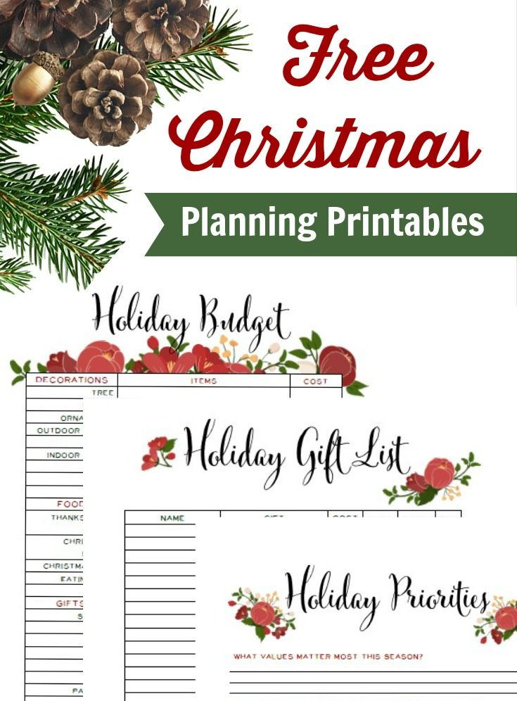 Free Christmas Planning Printables: Budget Tracker, Priorities for December, and Gift List.  No stress this holiday season!