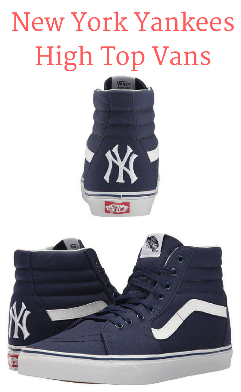 153d0eeb4fc903 New York Yankees High Top Navy Blue Vans edition. Love this look especially  with how popular baseball tee s and hats are right now!  NYC  Yankees   affiliate