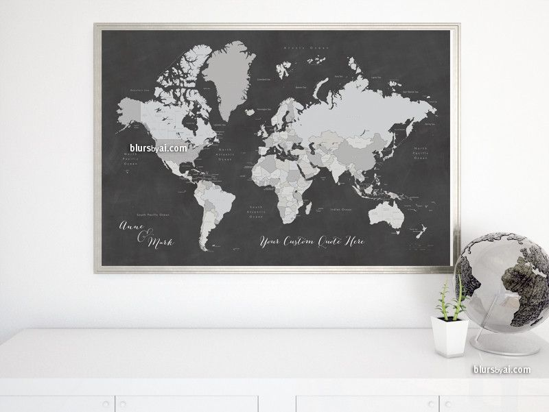 Custom Quote World Map With Countries US States Canadian - Us map chalkboard