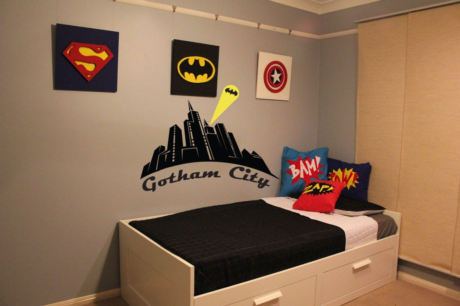 Boys Superhero Bedroom Ideas batman gotham city wall decal boys room decorotrengraving