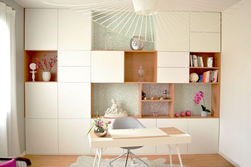 bibliothèque meuble sur mesure moderne design blanc et bois sur ...