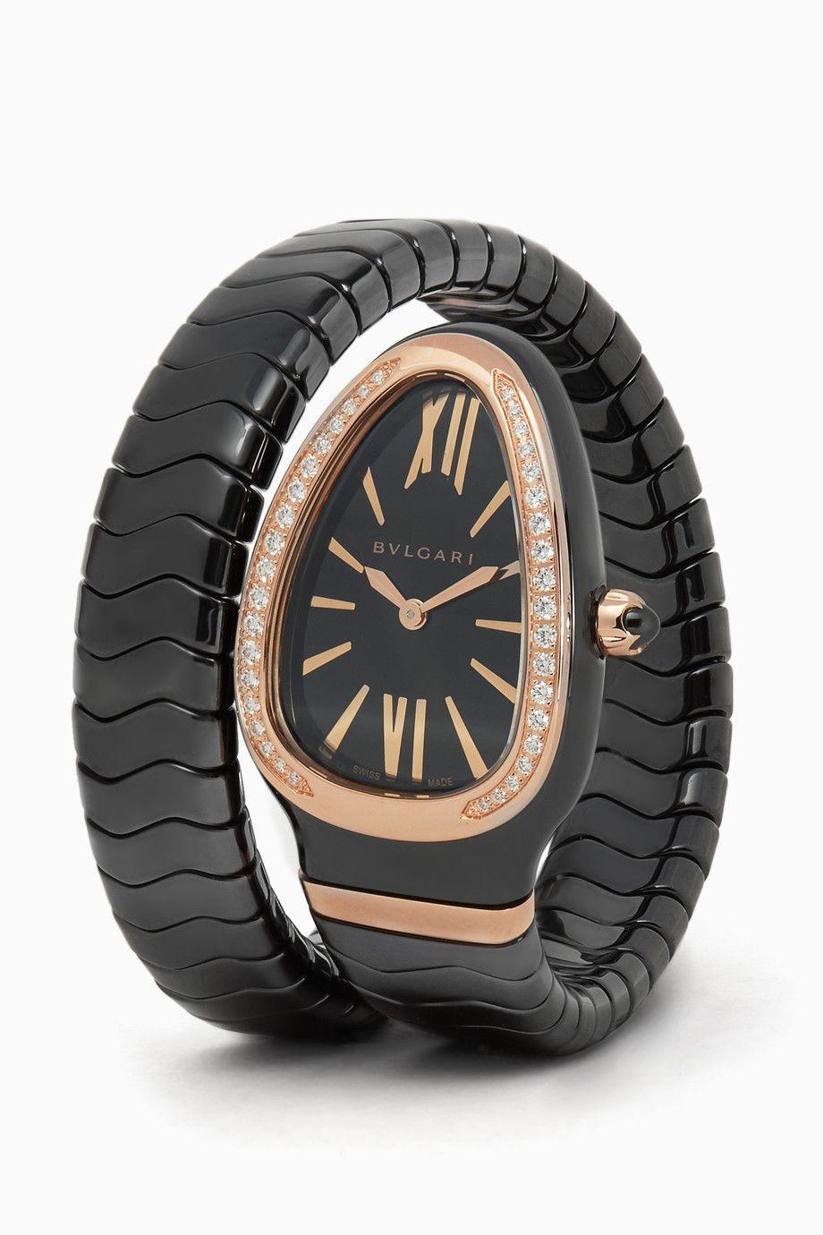 157980a438d3c Shop Luxury BVLGARI Rose-Gold, Black Ceramic & Diamond Serpenti Spiga Watch  | Ounass UAE