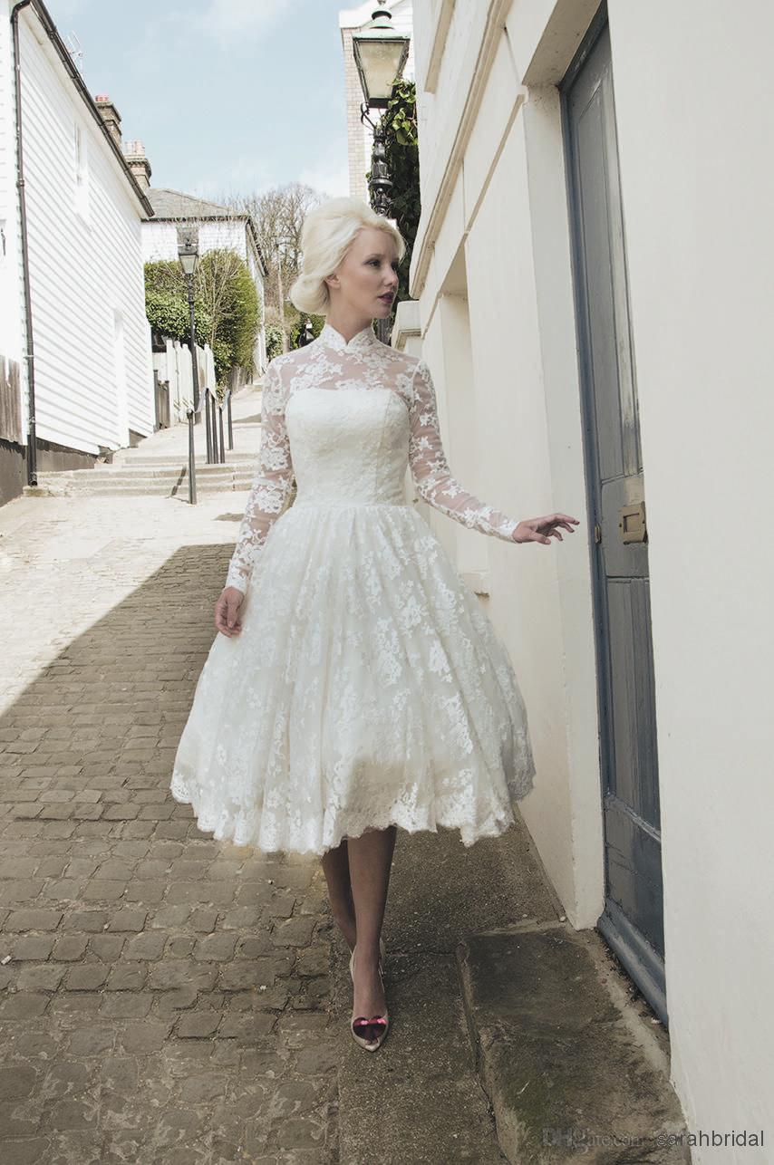 Plus Size Sheer High Neck Wedding Dresses With Long Sleeves 2014 Ele Short Wedding Dress Tea Length Wedding Dress Vintage Vintage Wedding Dress Tea Length Lace [ 1286 x 854 Pixel ]