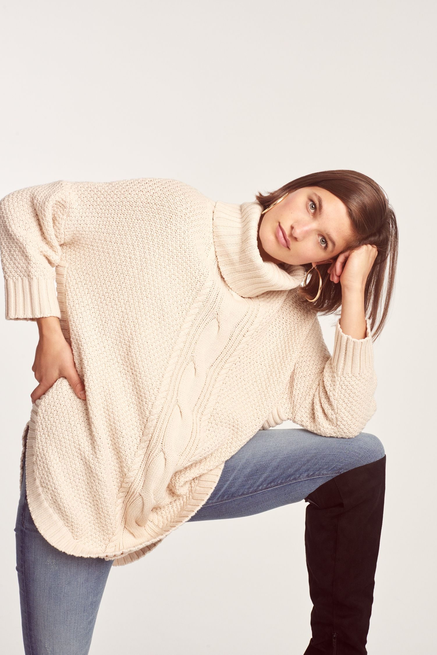 Cowl Neck Cable Knit Circle Hem Sweater Sweaters Hem Sweater Clothes