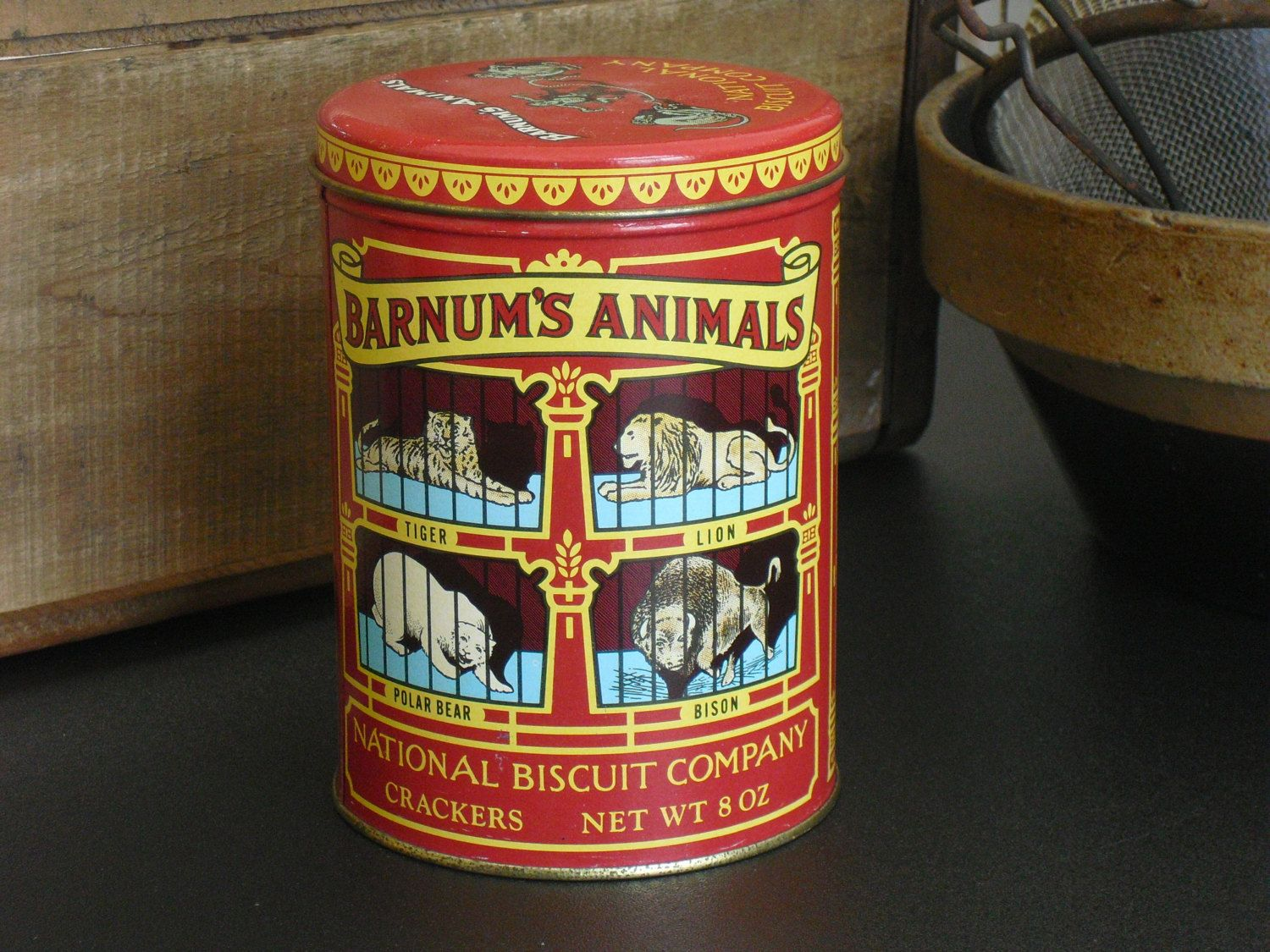 Vintage Animal Crackers Advertising Tin, Replica, 1914 Design, NABISCO,  Barnums