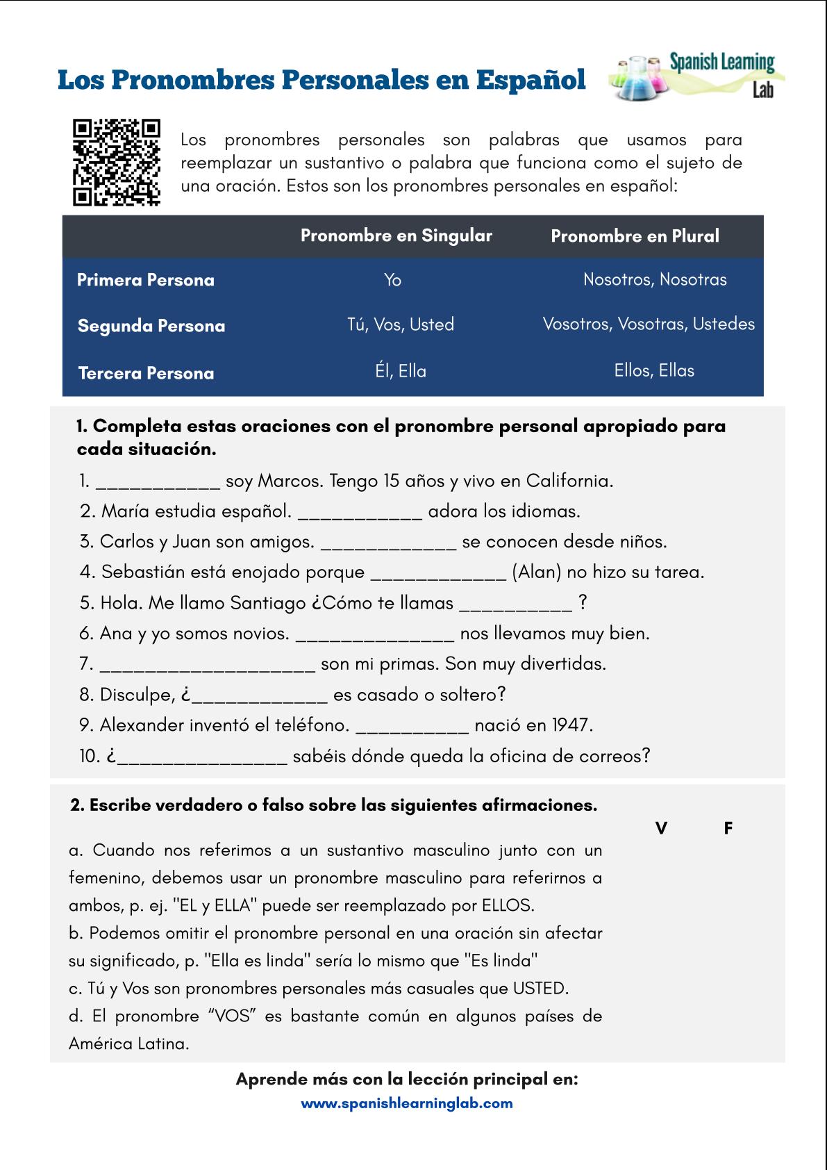 Subject Pronouns In Spanish Worksheet