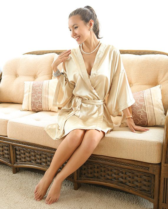 Gold Bridesmaid Kimono Robes Bathrobe Satin Robes by AnyzA  d91fe274c409