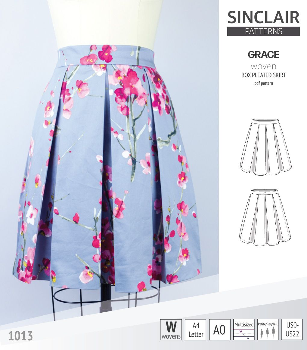 Sinclair Patterns S1013 Grace Box Pleated Skrit Pdf Sewing Pattern Ta1 In 2020 Pleated Skirt Pattern Skirts With Pockets Skirts