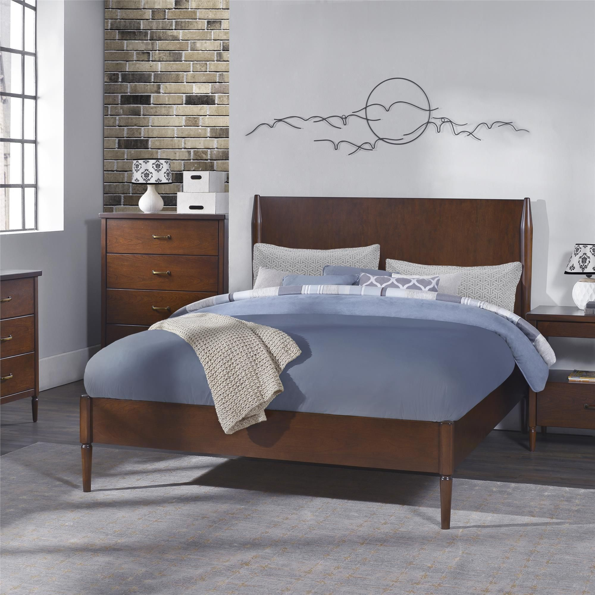 dorel living brook lane walnut queen bed queen beds queen size