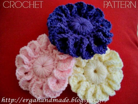 2 pdfs 15 petal flower and 8 petal flower crochet by ergahandmade