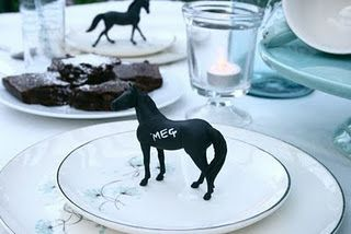 Petite chalk board horses - can use any item dipped in chalkboard paint as place setters.