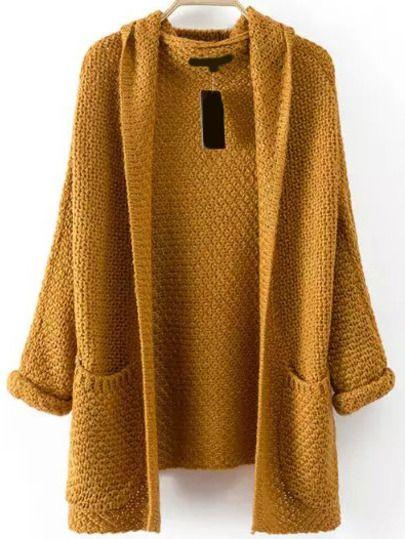 Shop Pockets Chunky Knit Khaki Coat online. SheIn offers Pockets ...