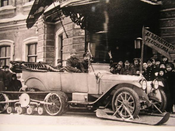 Tsar Nikolai's II Car with skates, 1917