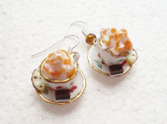 Caramel Latte Earrings. Teacup Earrings. by GiraffesKiss on Etsy