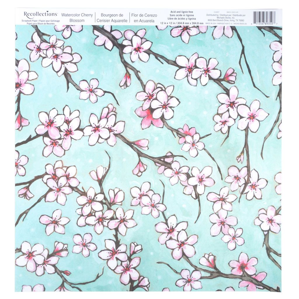 Watercolor Cherry Blossom Scrapbook Paper By Recollections