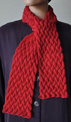 Free Knitting Pattern Chunky Cable Scarf : Woven Cable Scarf in Red - Free Knit Pattern KNITTING PATTERNS Pinterest ...