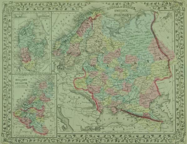 Russia Denmark Holland Belgium Sweden Norway Antique Mitchell Map - Sweden holland map
