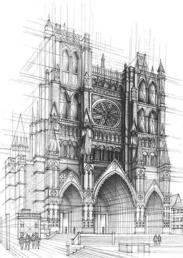 Detailed Perspective Of Cathedral With People To Display Size Using Wireframe Aid In Drawing