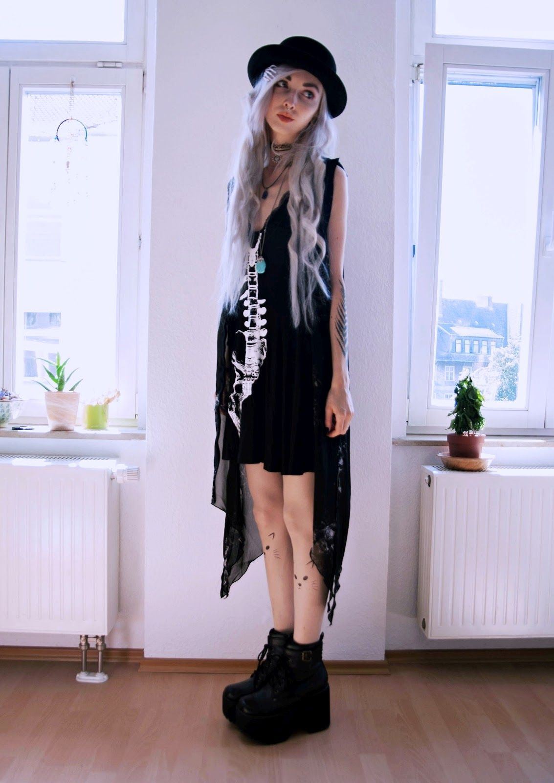 Kimi Peri - H&M Sheer Waterfall Grunge Cardigan, Dolls Kill Angel ...
