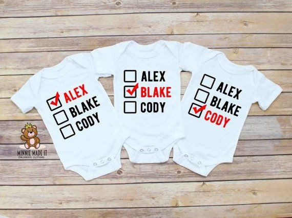 9f4785a01 Triplets Matching Onesies® (Set Of 3) Personalized Triplet Rompers With Baby  Names - Baby Shower Gift - Newborn Triplet Boys Girls Onesie®