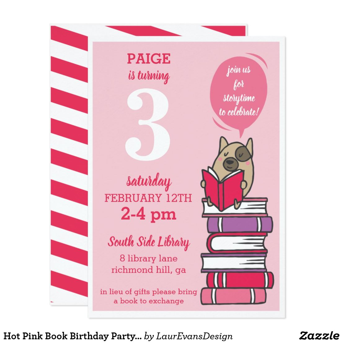Hot Pink Book Birthday Party Reading Invitation Hot pink