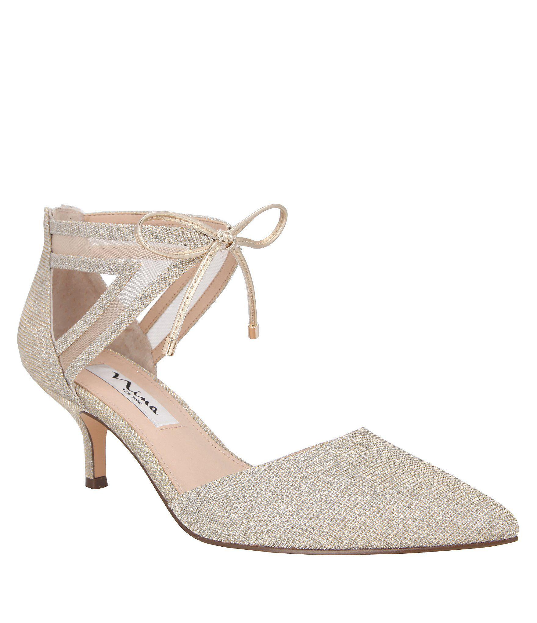 Dillards Wedding Gifts: Shop For Nina Talley Metallic Fabric Ankle Tie Dress Pumps