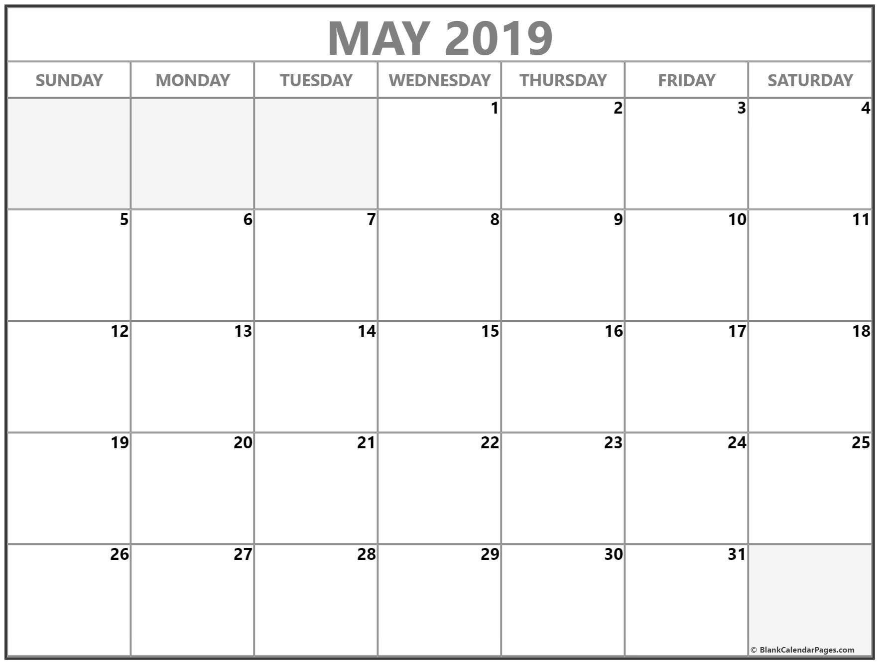 May 2019 Printable Calendar Blank Blank Calendar Template