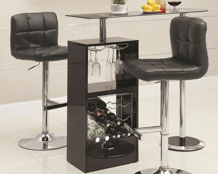 Nice Coaster Furniture Contemporary Black Glass Bar Unit With Wine Rack