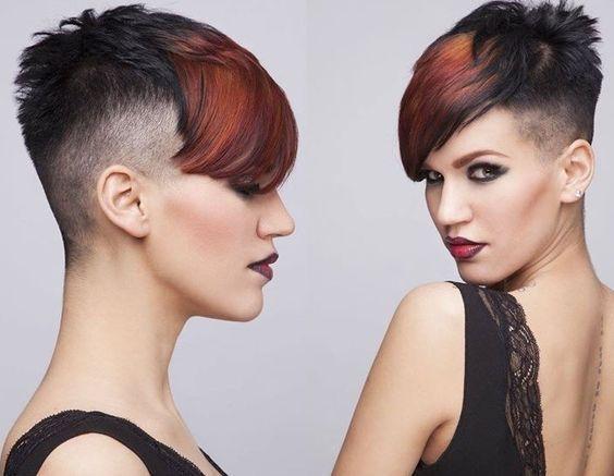 10 dunkle Kurzhaarfrisuren mit farbigen Akzenten! - Neue Frisur